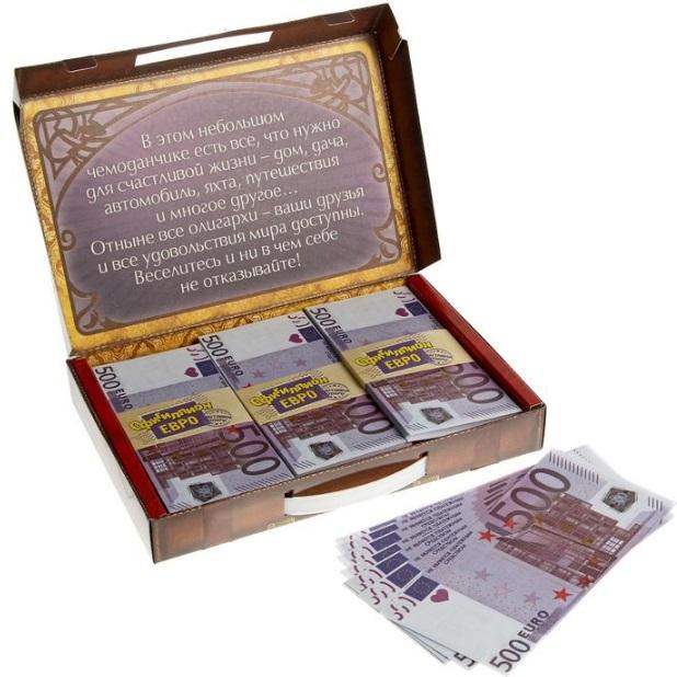 """Чемодан денег """"Офигиллион Евро""""  из коллекции интернет-магазина фэн-шуй  """"Мой Талисман"""" - подарок для привлечения денежной энергии"""