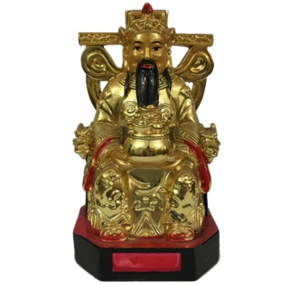 Бог богатства на троне фен-шуй