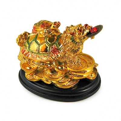 """Фигура на подставке """"Черепаха-дракон на деньгах"""", золотой, 7 см"""