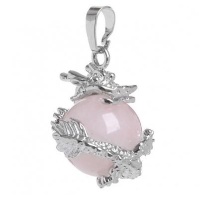 Дракон - кулон из розового кварца
