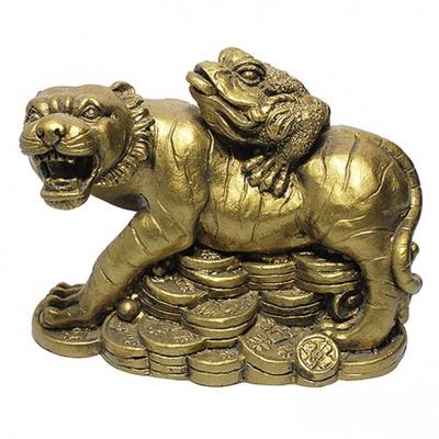 "Фен-шуй Нэцкэ ""Жаба на тигре на монетах"""