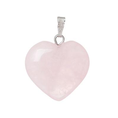 Подвеска сердце из розового кварца