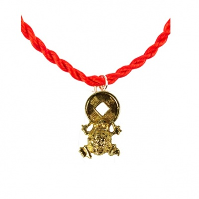 Красная нить с лягушкой  (браслет)
