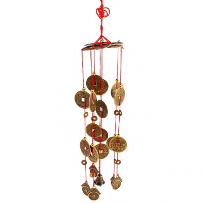 Колокольчики ветра, 68 см, бамбук, 8 трубочек, 4 колокольчика, 4 монеты
