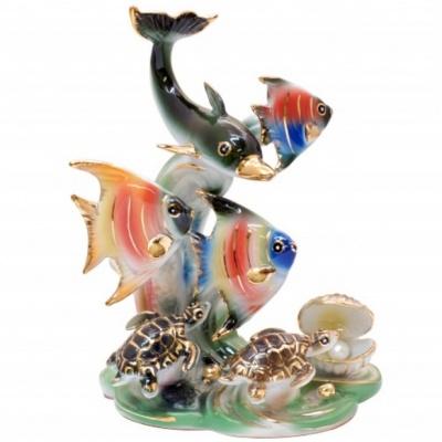 """Дельфин, золотые рыбки, черепаха и жемчужина """"фен-шуй"""""""