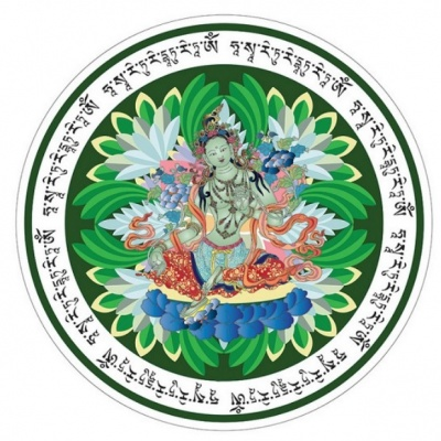 Зеленая Тара (наклейка с мантрой)