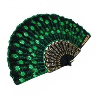 веер зеленый фен-шуй