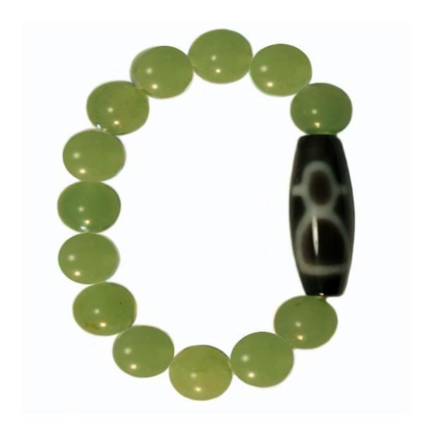 Бусина Дзи Кубера в браслете из нефрита - изображение #1710